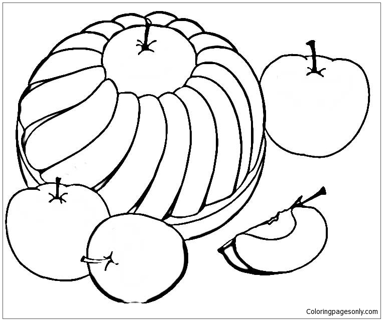763x641 Sweet Apple Pie Coloring Page