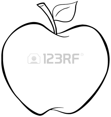 427x450 Apple With Red Outline Royalty Free Cliparts, Vectors, And Stock