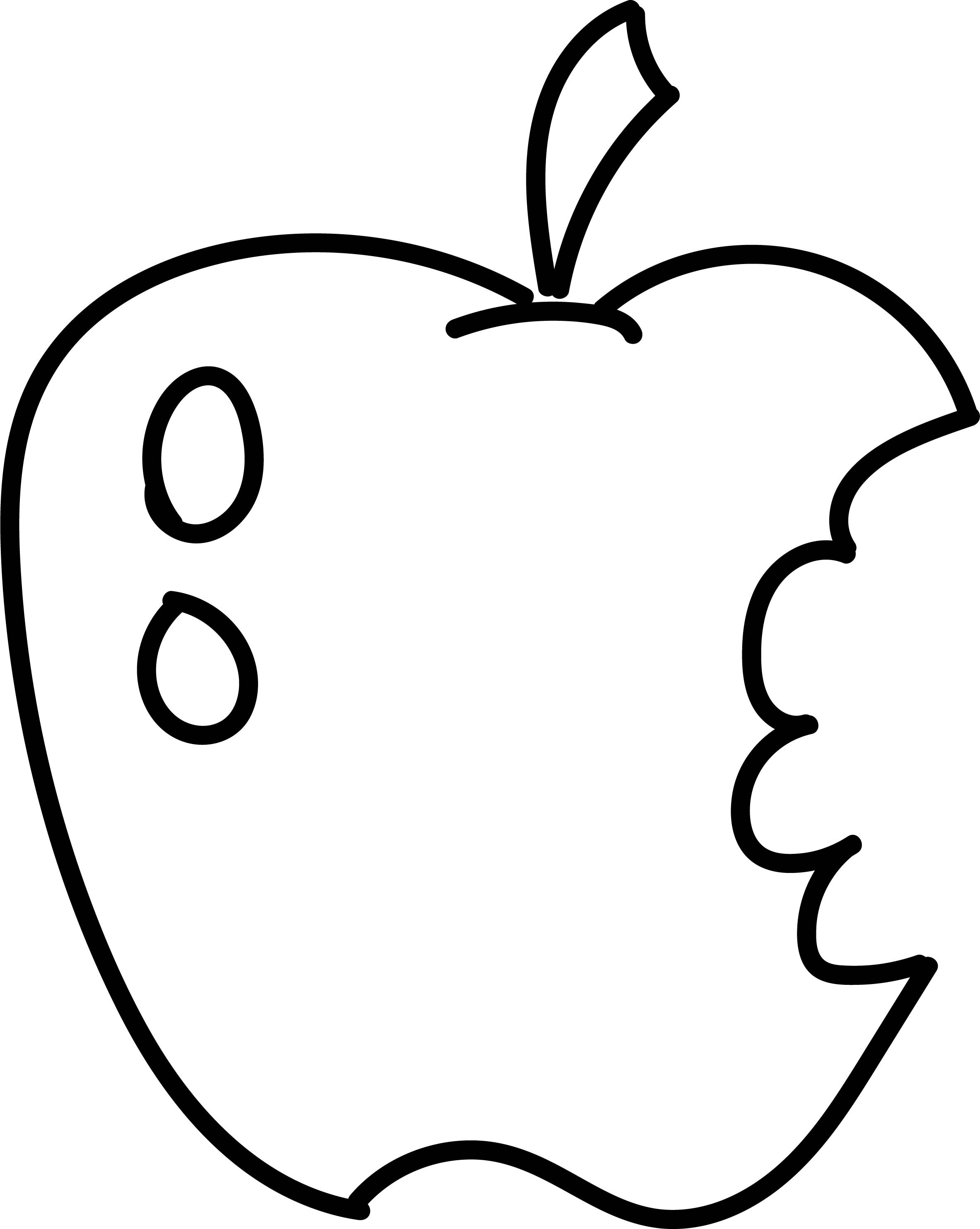 2366x2965 Apple With Worm Fruits Coloring Pages Simple For Kids Awesome