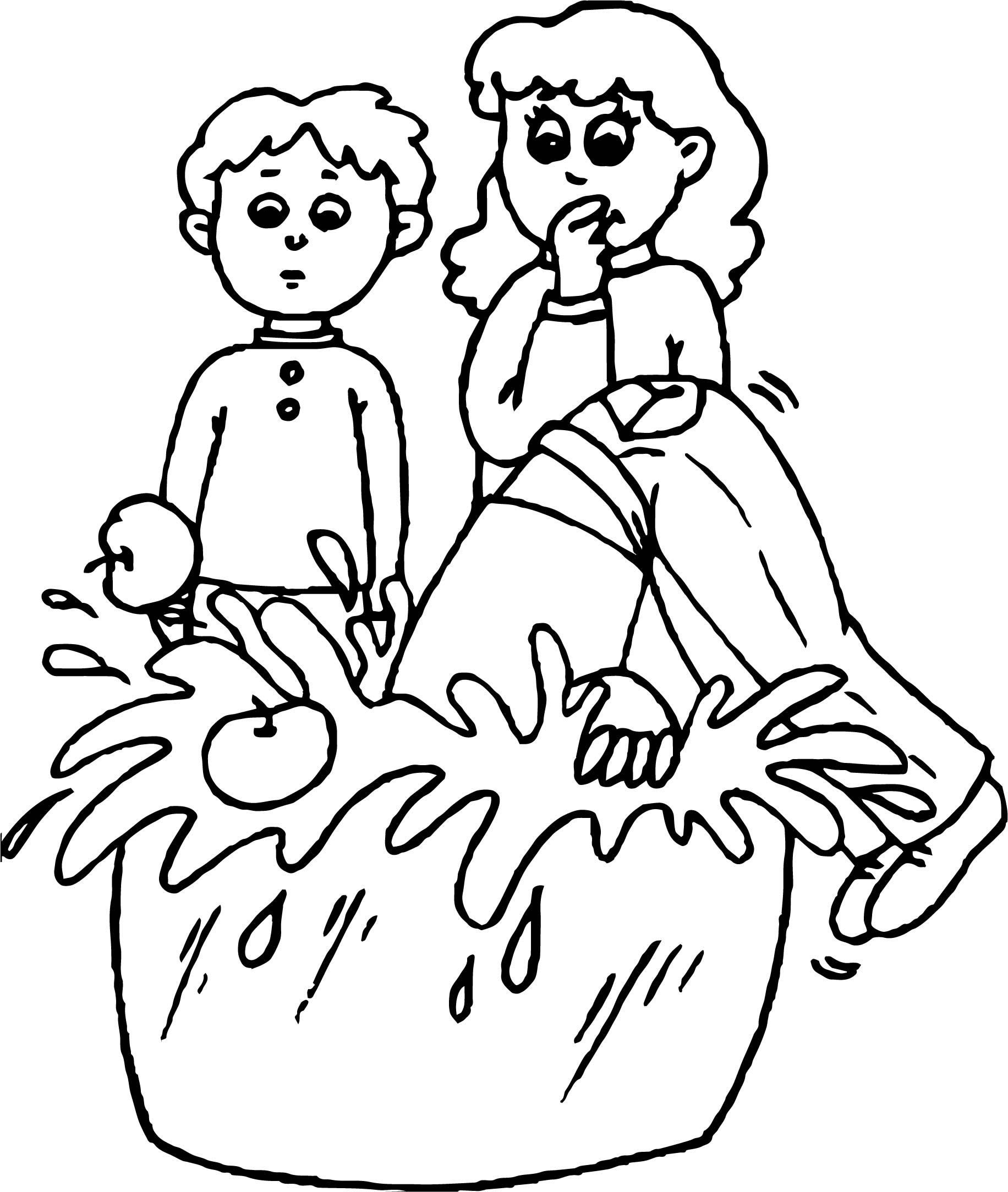 1832x2167 Bobbing For Apples Coloring Page Wecoloringpage
