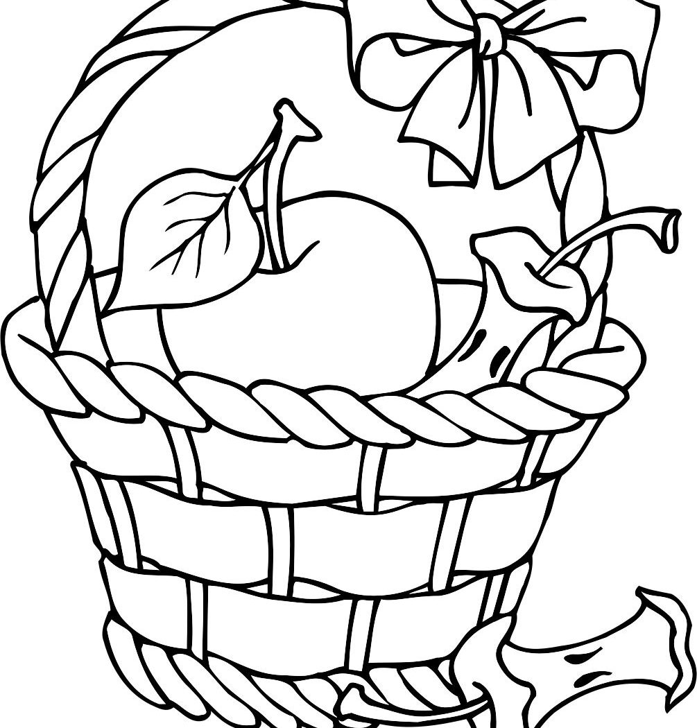 1005x1050 Coloring Page Of Fruit And Apple Basket Free Printable Kids Sheets