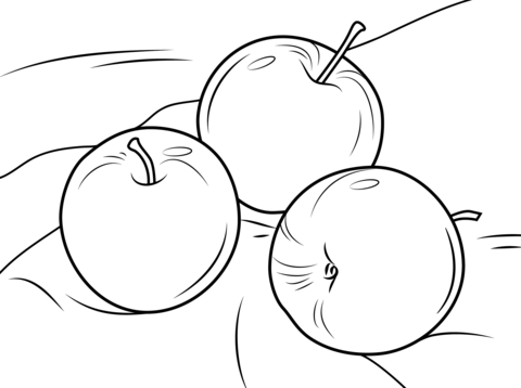480x358 Three Apples Coloring Page Free Printable Coloring Pages