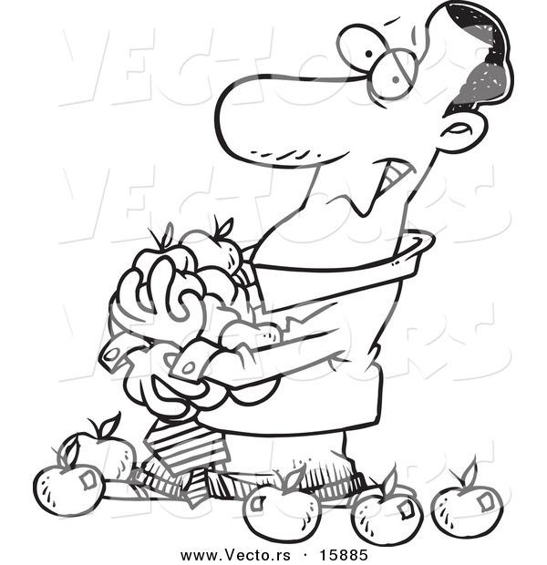 600x620 Vector Of A Cartoon Black Businessman Holding An Armful Of Apples
