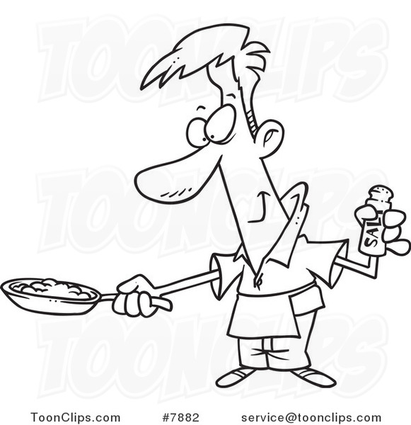 581x600 Cartoon Black White Line Drawing Of A Guy Wearing An Apron