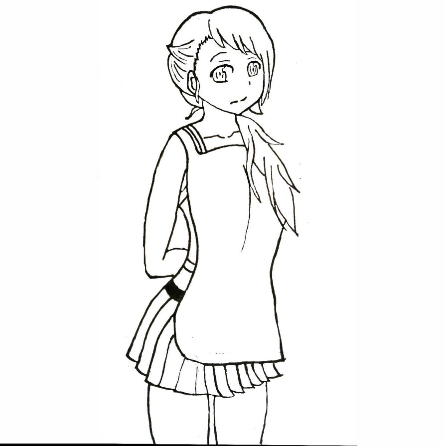 893x895 Girl With An Apron Sketch By Jipans