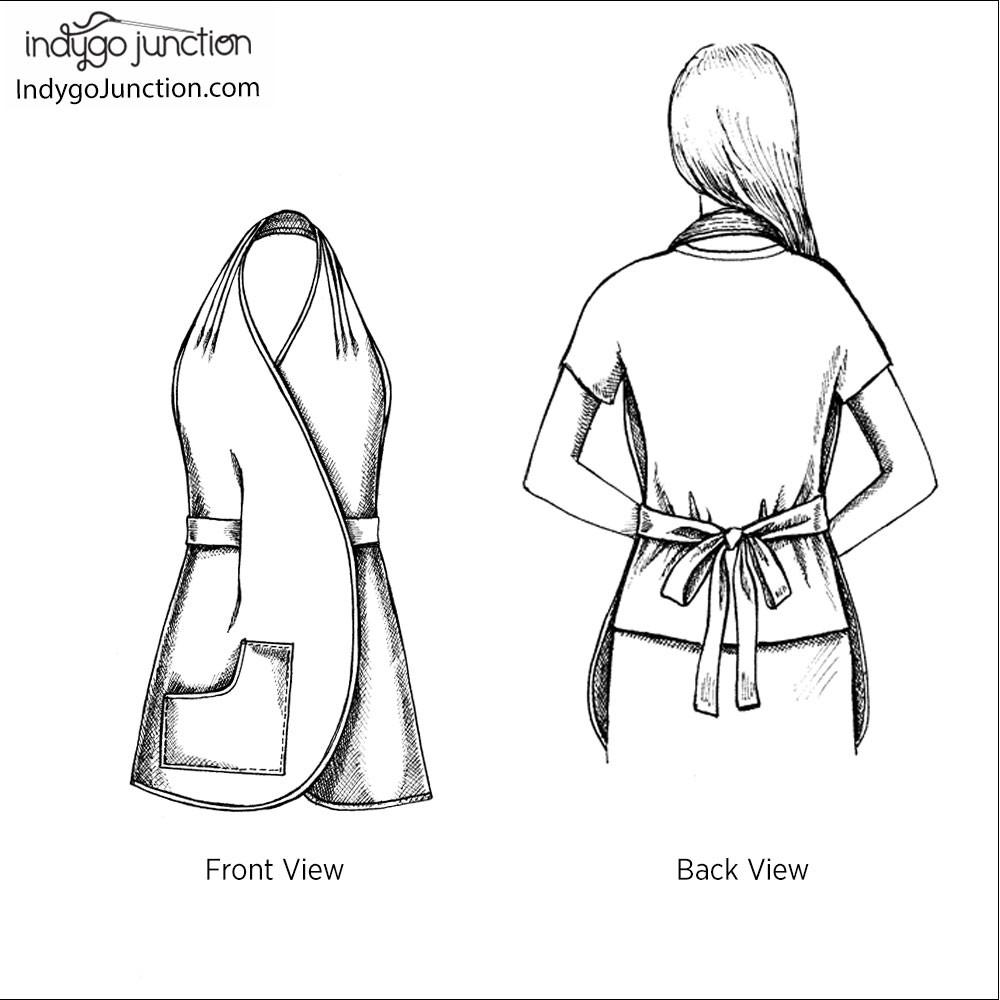 1000x1000 One Yard Overlap Apron Sewing Pattern From Indygo Junction