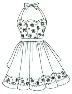 231x300 Apron, Daisy Color Pages Apron, Embroidery