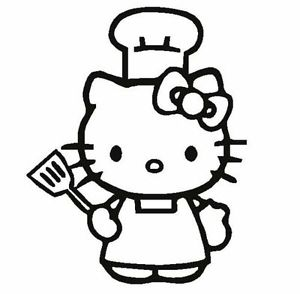 300x294 Hello Kitty Cook Apron Chef Hat Decal Sticker You Pick Color Car