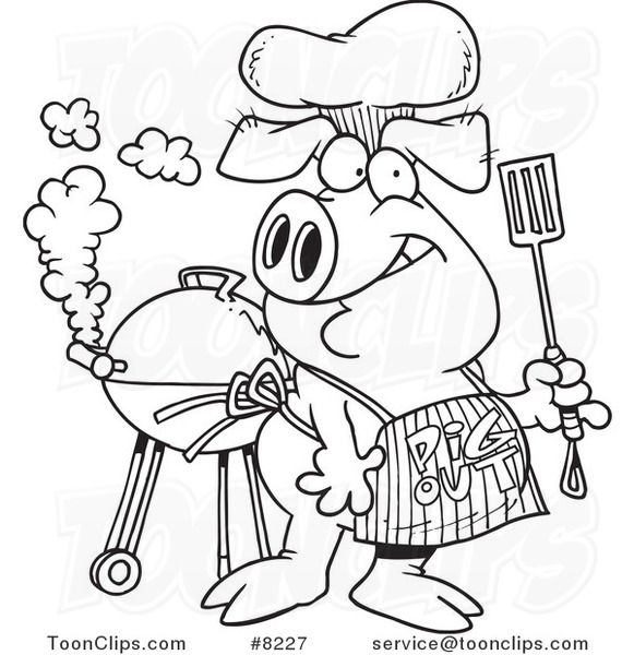 581x600 Cartoon Black And White Line Drawing Of A Bbq Pig Wearing A Pig