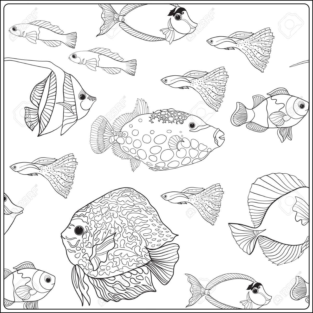1300x1300 Pattern With Decorative Corals And Sea Or Aquarium Fish. Vector