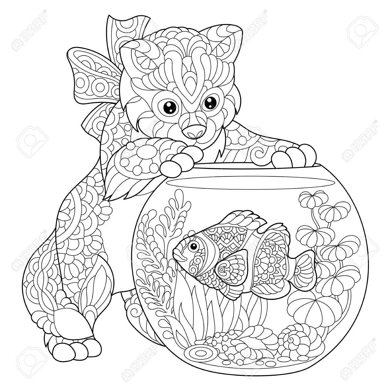 1300x1300 Coloring Page Of Kitten Playing With Clown Fish In Aquarium