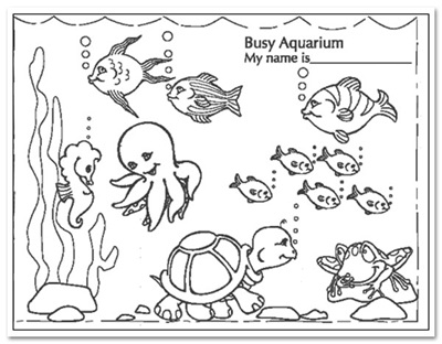 400x312 Busy Aquarium Coloring Pages For Kindergarten