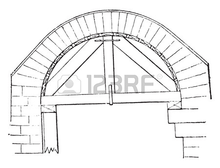450x344 Hanger Small Semicircular Arch, Vintage Engraved Illustration