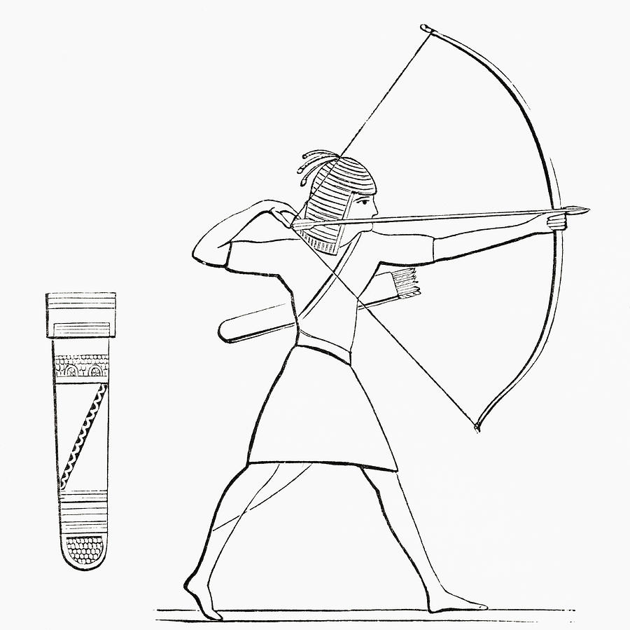 900x899 Egyptian Archer And Quiver. From The Drawing By Vintage Design Pics