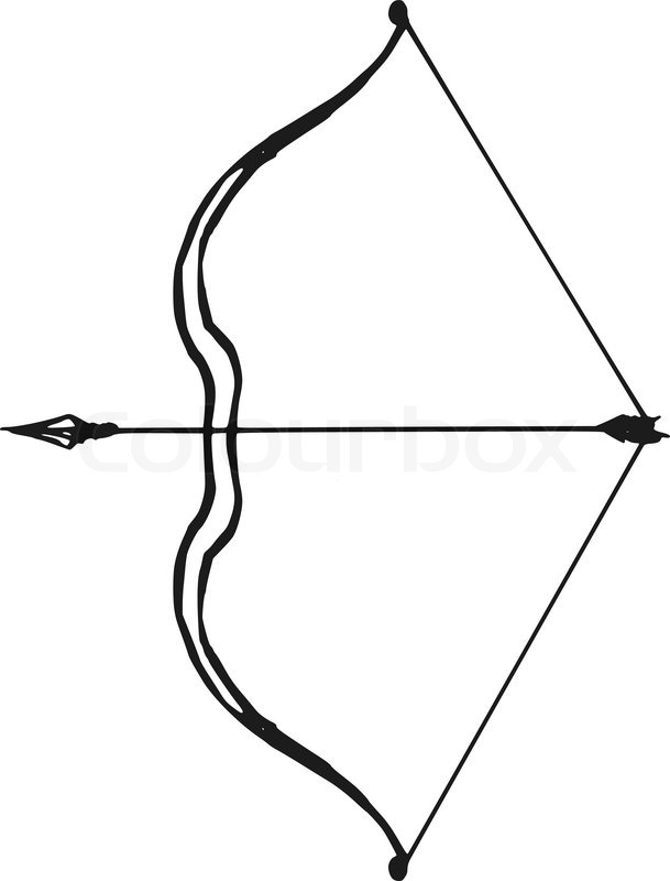 609x800 Hand Drawn, Doodle, Sketch Illustration Of Bow And Arrow Stock