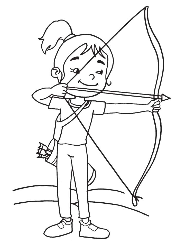 720x954 Cute Girl Archer Coloring Page Download Free Cute Girl Archer