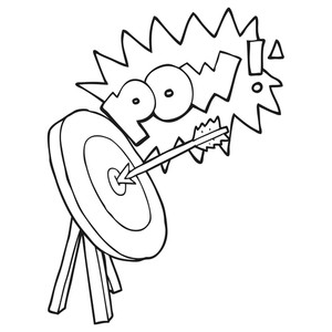 300x300 Freehand Drawn Black And White Cartoon Archery Target Royalty Free