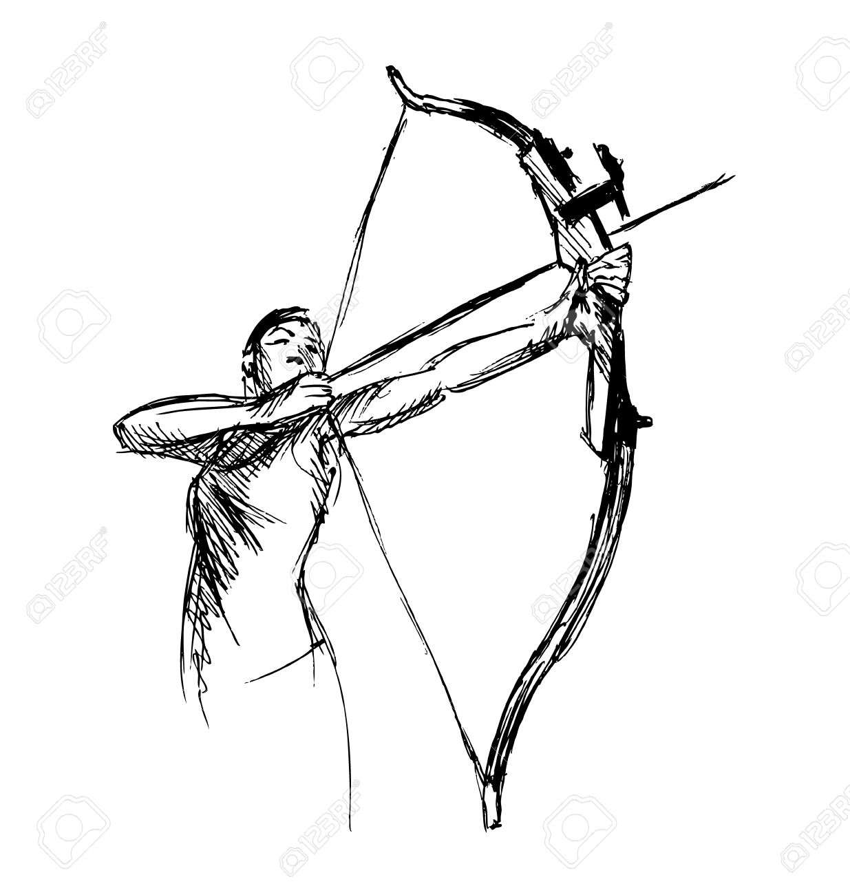 1235x1300 Hand Sketch Woman Shooting A Bow And Arrow Royalty Free Cliparts