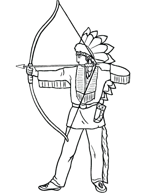 600x800 Native American Drawing Coloring Pages Archery Med On Pacific