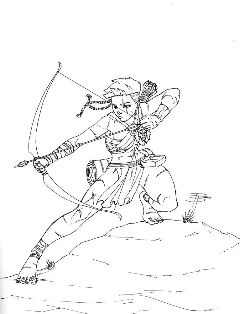 766x1000 Archery Poses Drawing