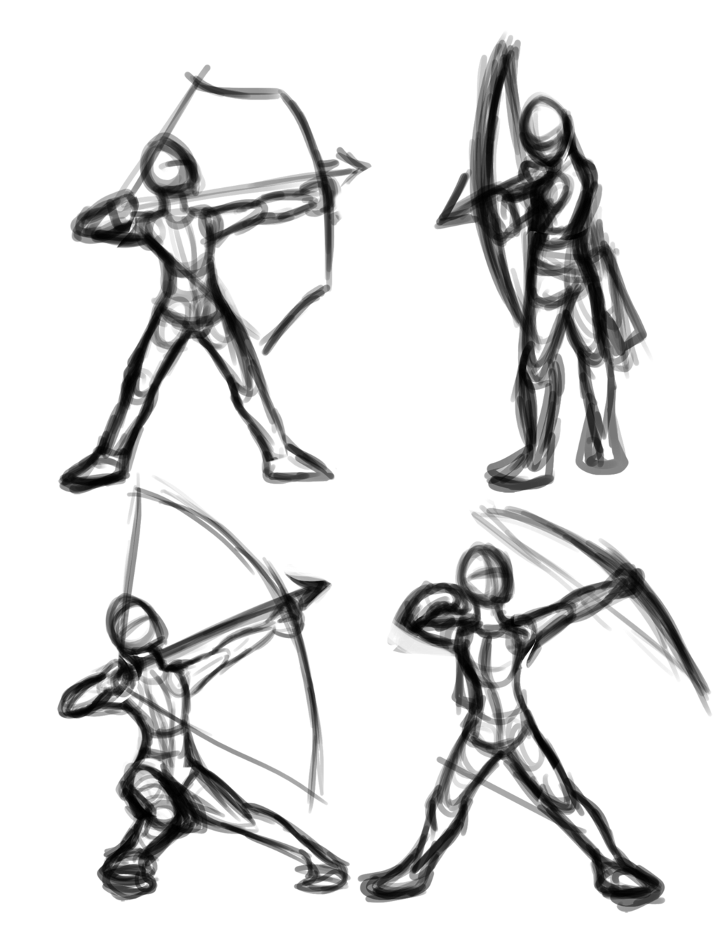 1024x1325 Archery Poses By Robotic Overlord