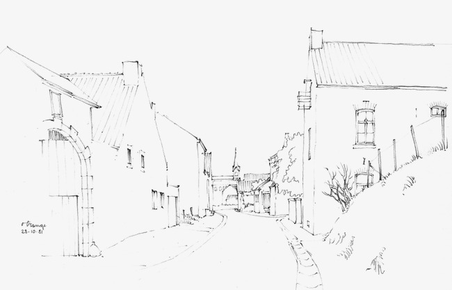 650x417 Architectural Sketches, Building, Hand Painted, Line Drawing Png