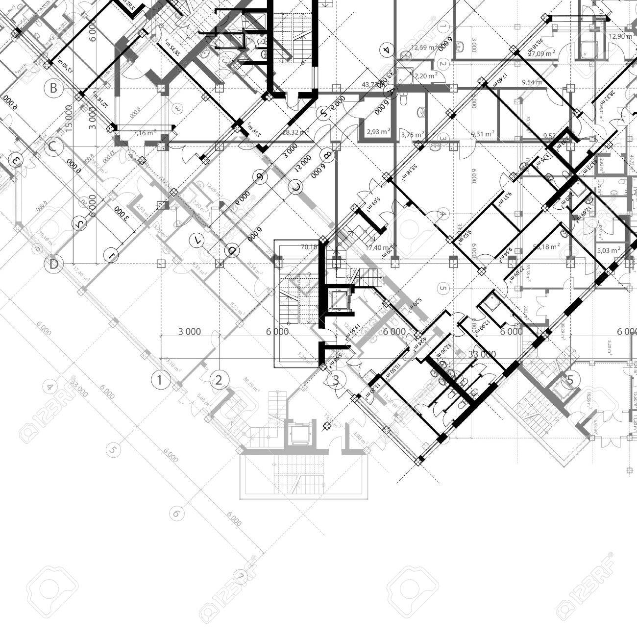 1300x1300 Architectural Black And White Background With Plans Of Building