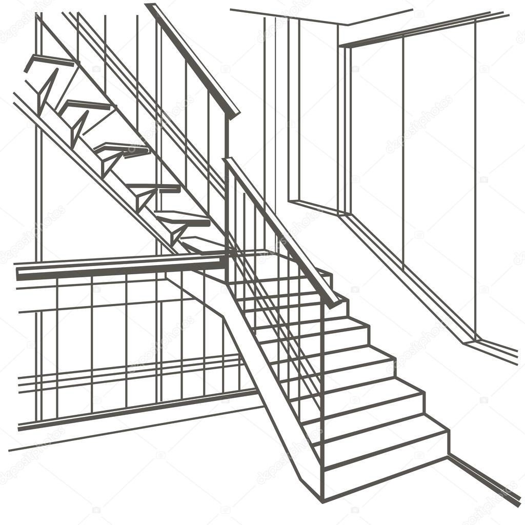 1024x1024 Linear Architectural Sketch Interior Stairs On White Background
