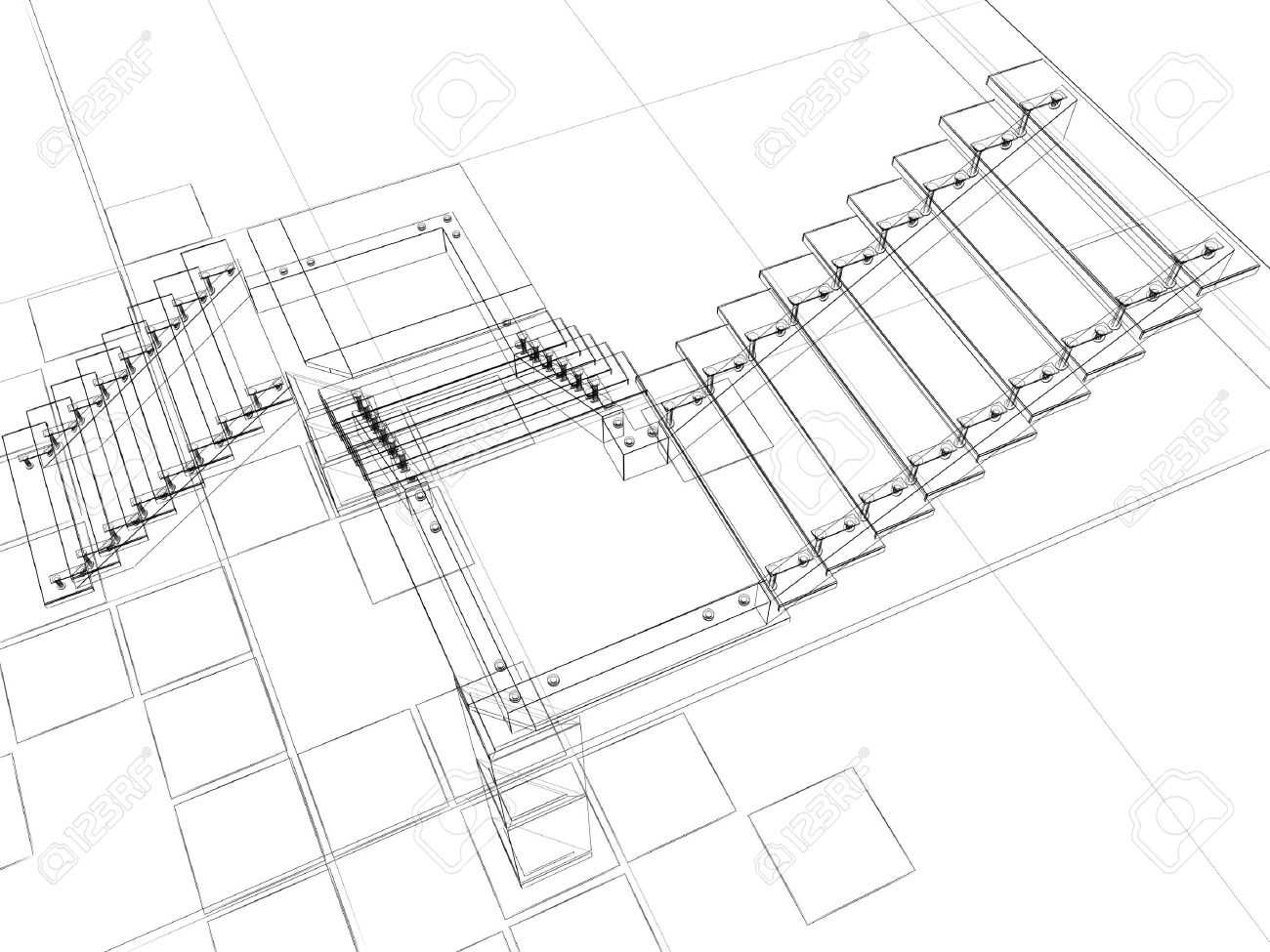 1300x975 Abstract Sketch Of Stairs Stock Photo, Picture And Royalty Free