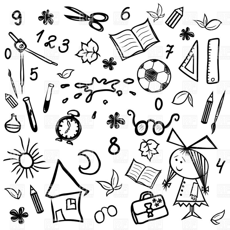 800x800 School And Education Symbols, Childish Drawing Royalty Free Vector