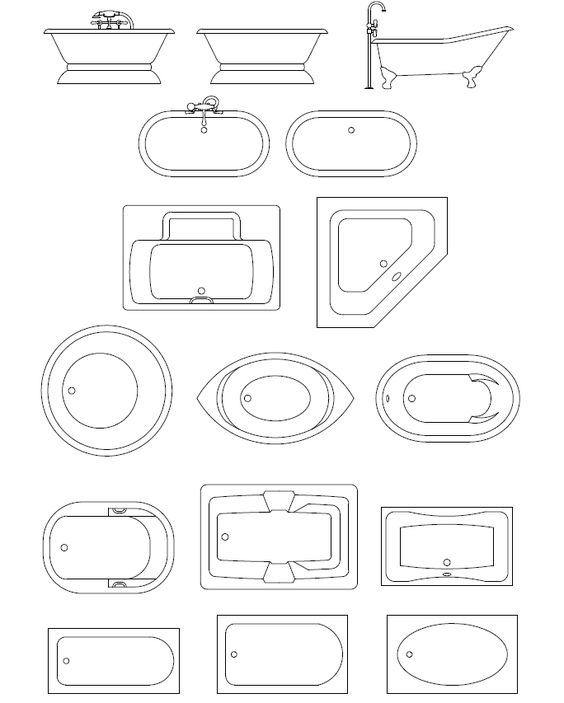 Architectural drawing symbols free download at getdrawings 564x703 bathroom assorted malvernweather Images