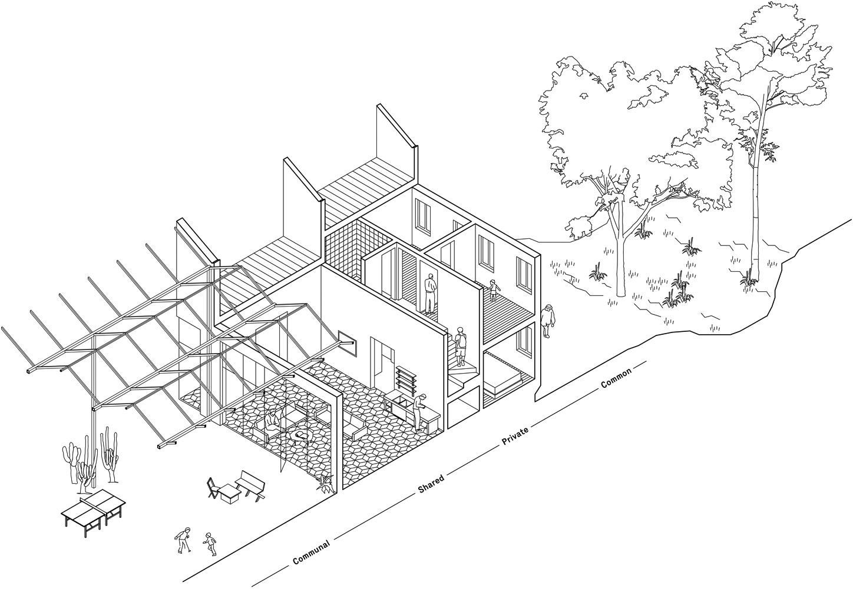 1448x1001 Something Fantastic Belgium Communal Housing Layered Iso Section