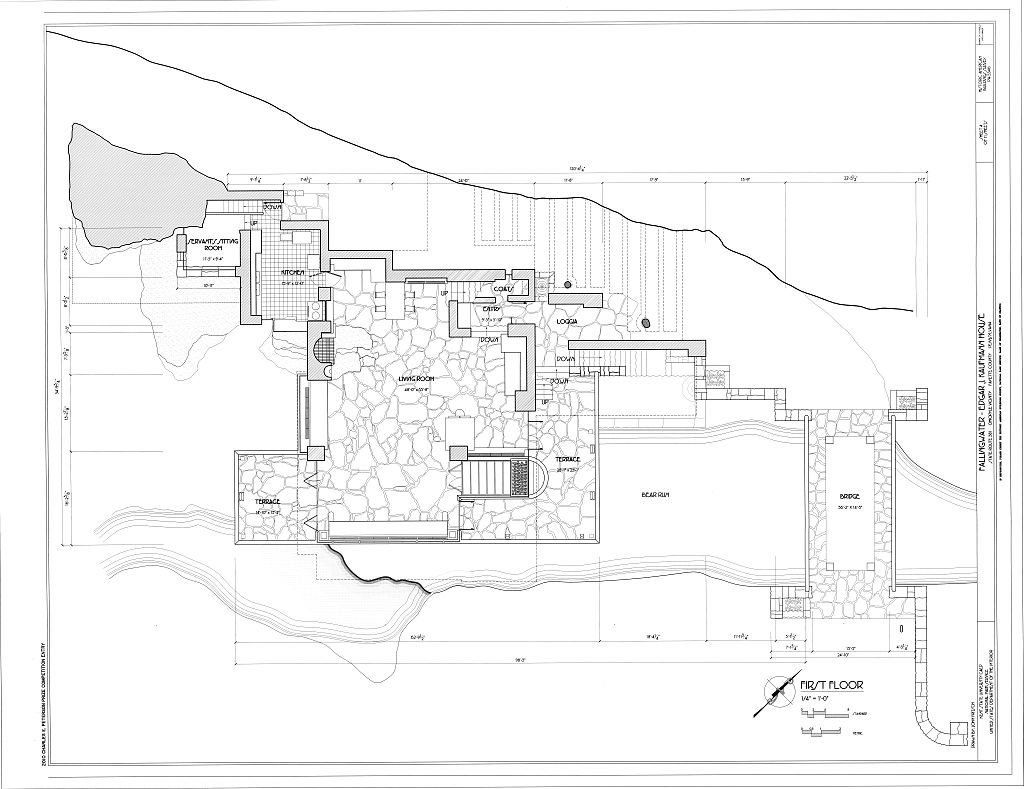 1024x789 Frank Lloyd Wright Waterfall House Floor Plans Architecture