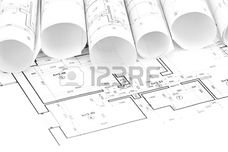 450x300 Architectural Drawings With Floor Plan And Drawing Compass Stock