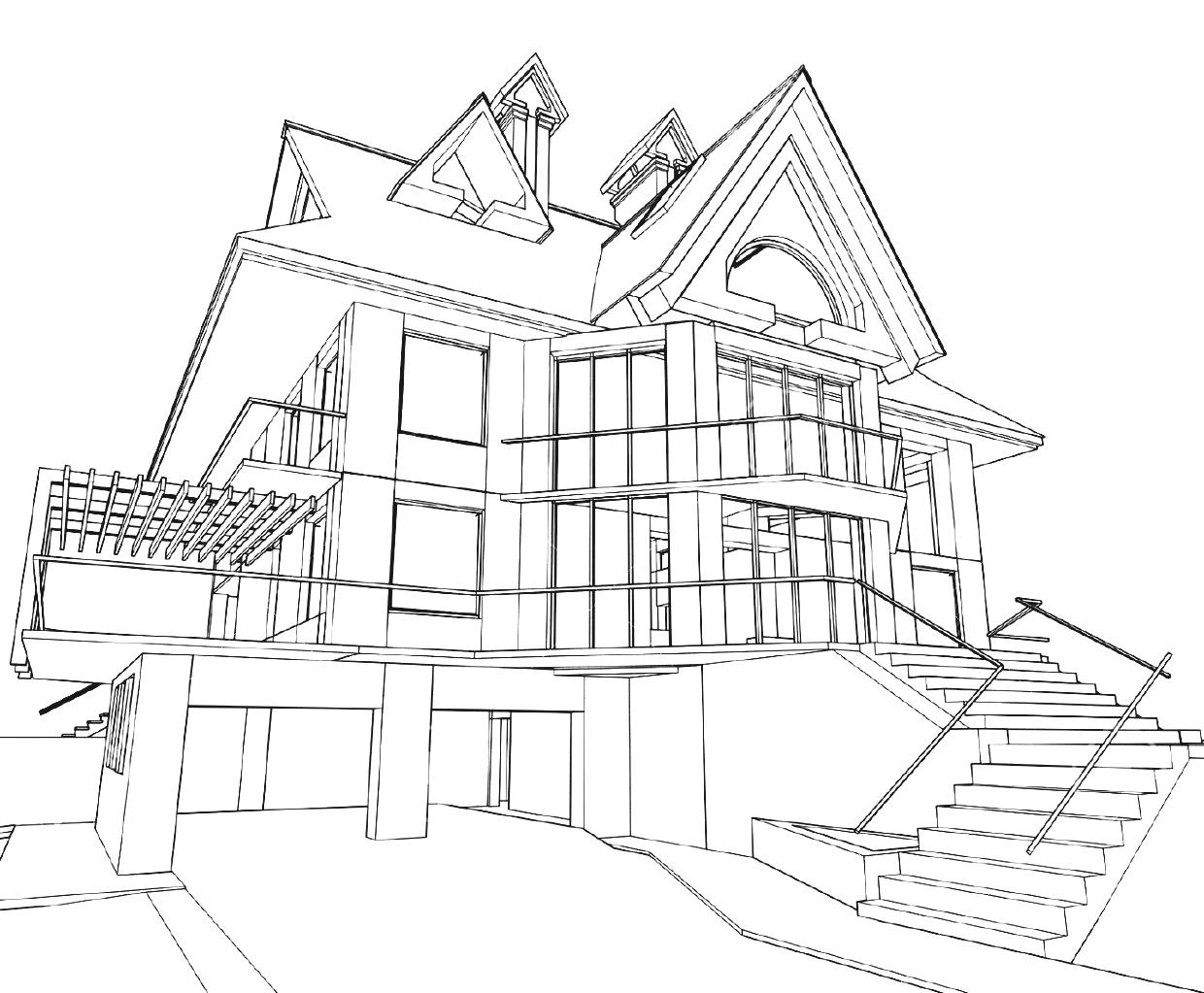 Architecture house drawing at free for for Architecture modern house design 2 point perspective view