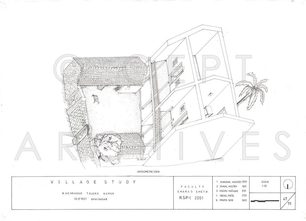 995x720 Vaghnagar Village Study, Gujarat, India Architectural Drawings