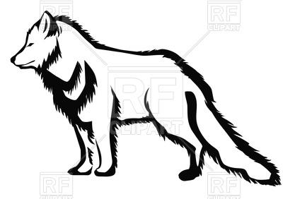 400x282 Arctic Fox Silhouette Royalty Free Vector Clip Art Image