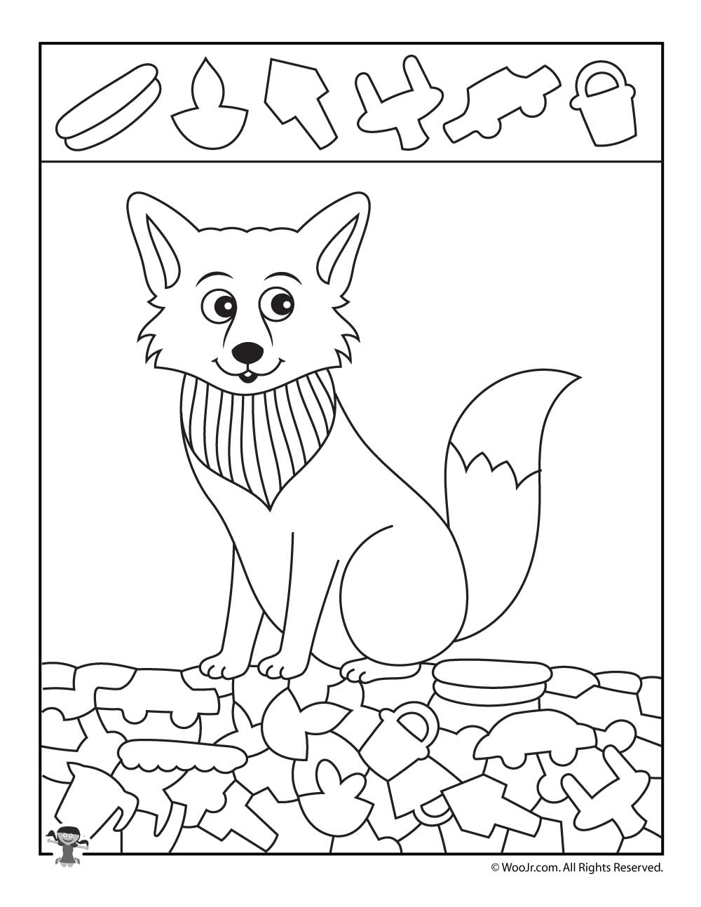 1000x1294 Arctic Fox Hidden Picture Coloring Page