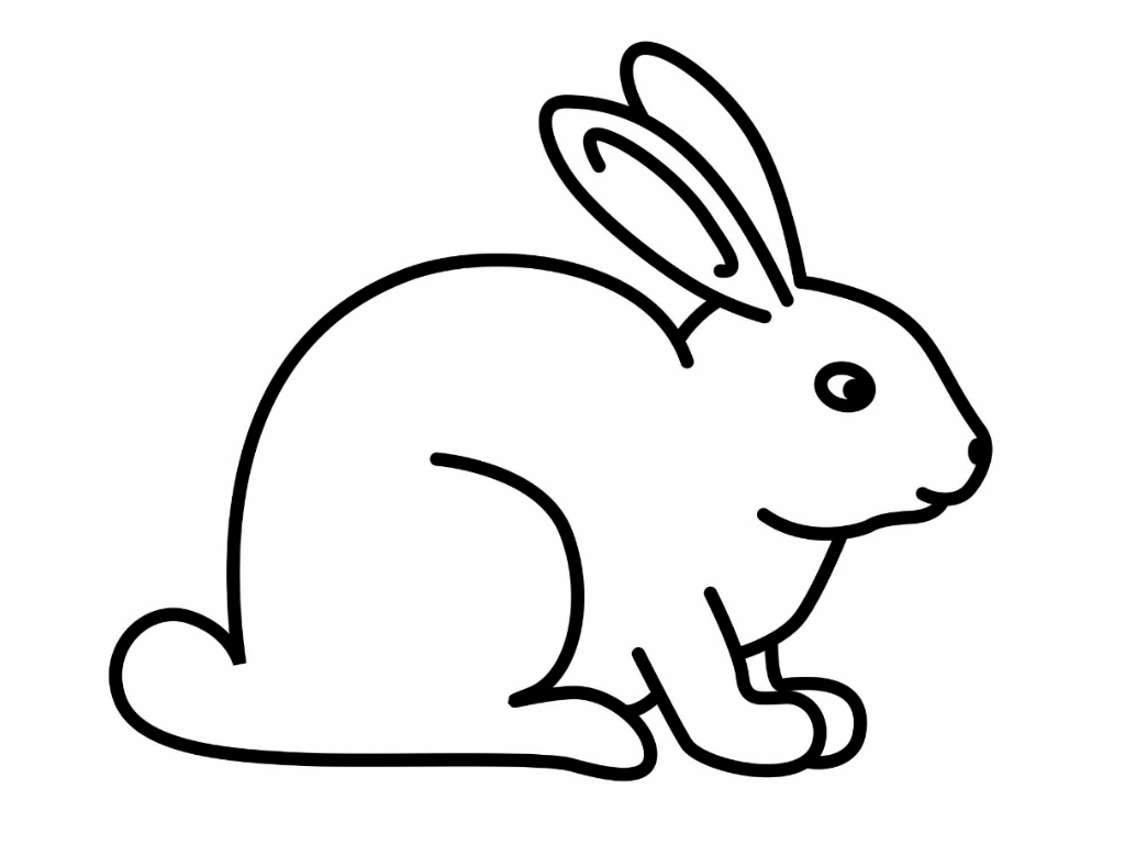 1024x768 Bunny Clipart Line Drawing
