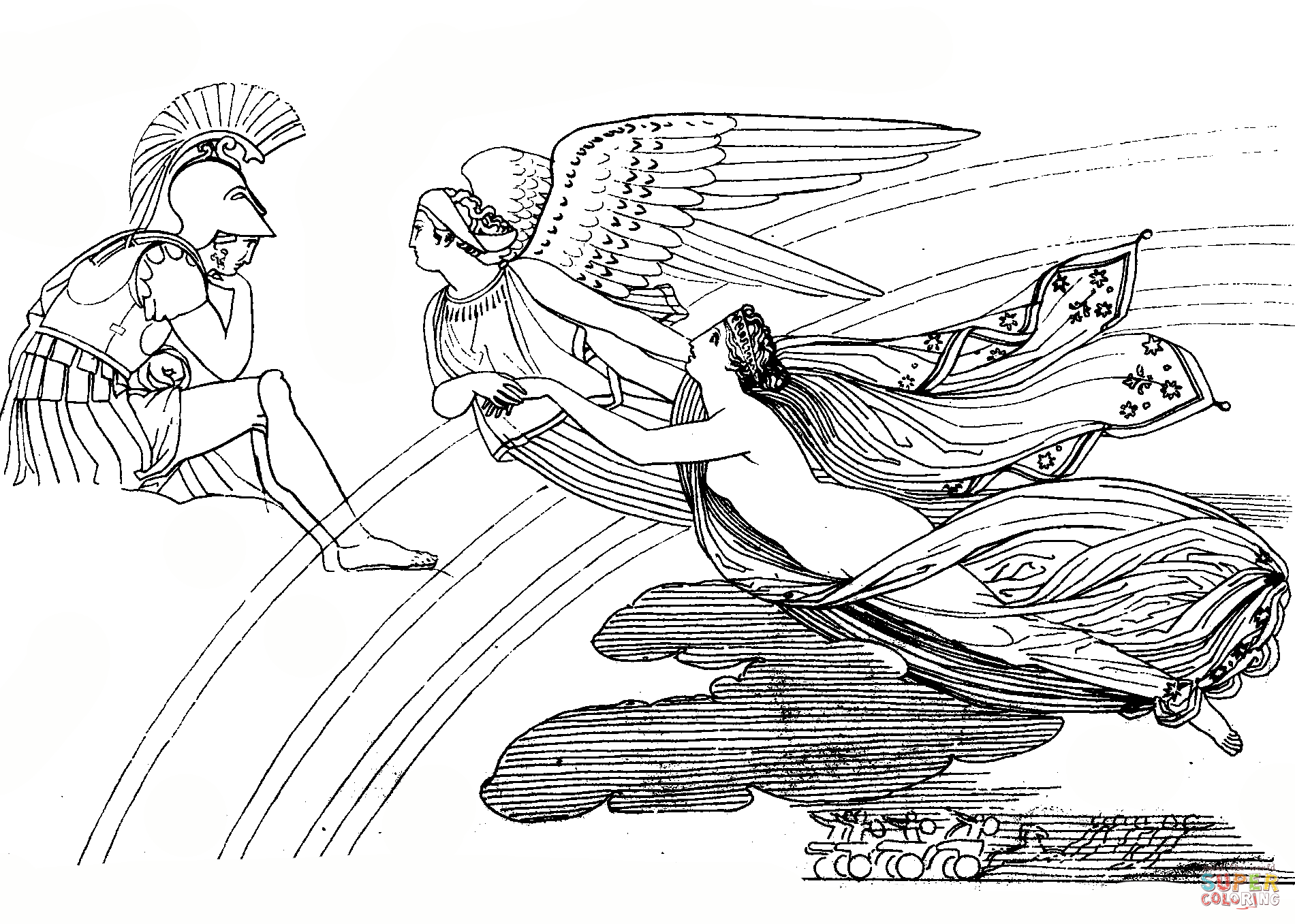 1901x1357 Ares, Iris And Aphrodite Coloring Page Free Printable Coloring Pages