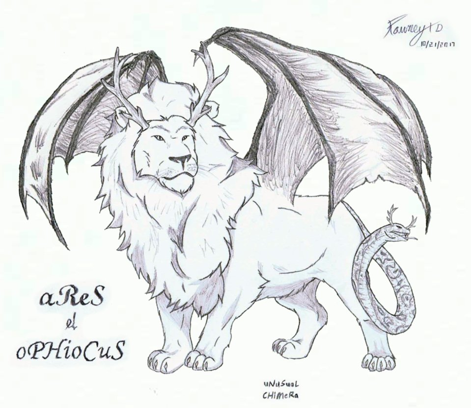 959x832 Ares And Ophiocus = The Unusual Chimera By Rowney Eiyt