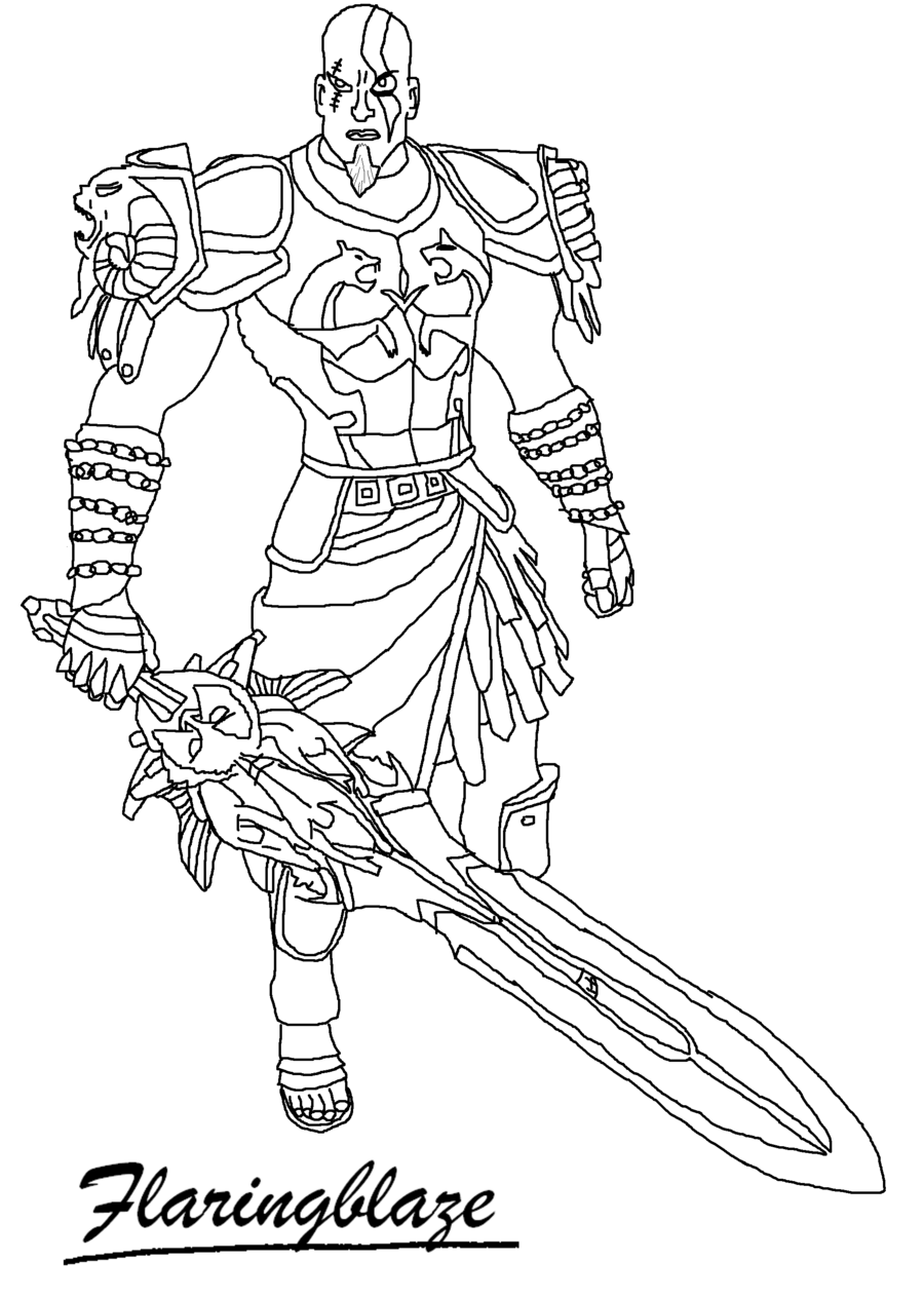 900x1264 God Of War 2 Kratos Line Art By Flaringblaze