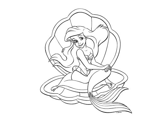 510x380 Princess Ariel Coloring Pages Drawing Board Weekly