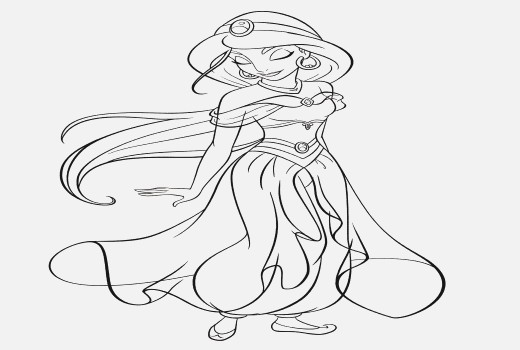 520x350 Disney Princess Coloring Pages Ariel In A Dress
