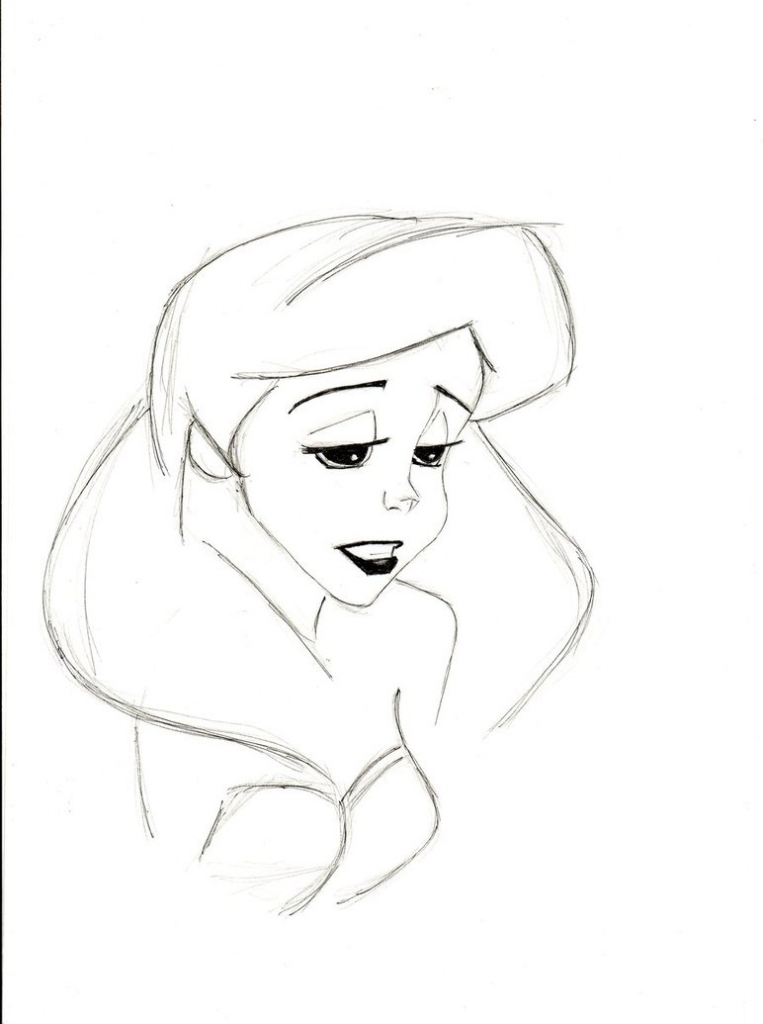 763x1024 Pencil Outline Drawings Pencil Sketch Of Sad Ariel Mlatimerridley