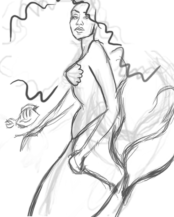 Ariel Mermaid Drawing At Getdrawings Com Free For Personal Use