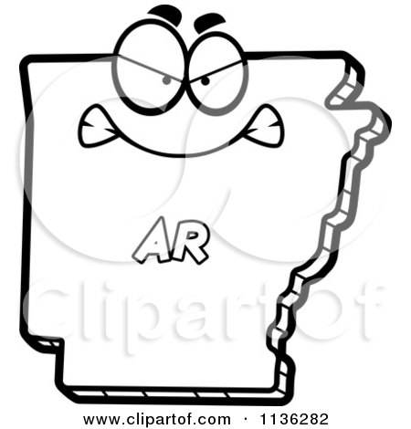 450x470 Cartoon Clipart Of An Outlined Mad Arkansas State Character