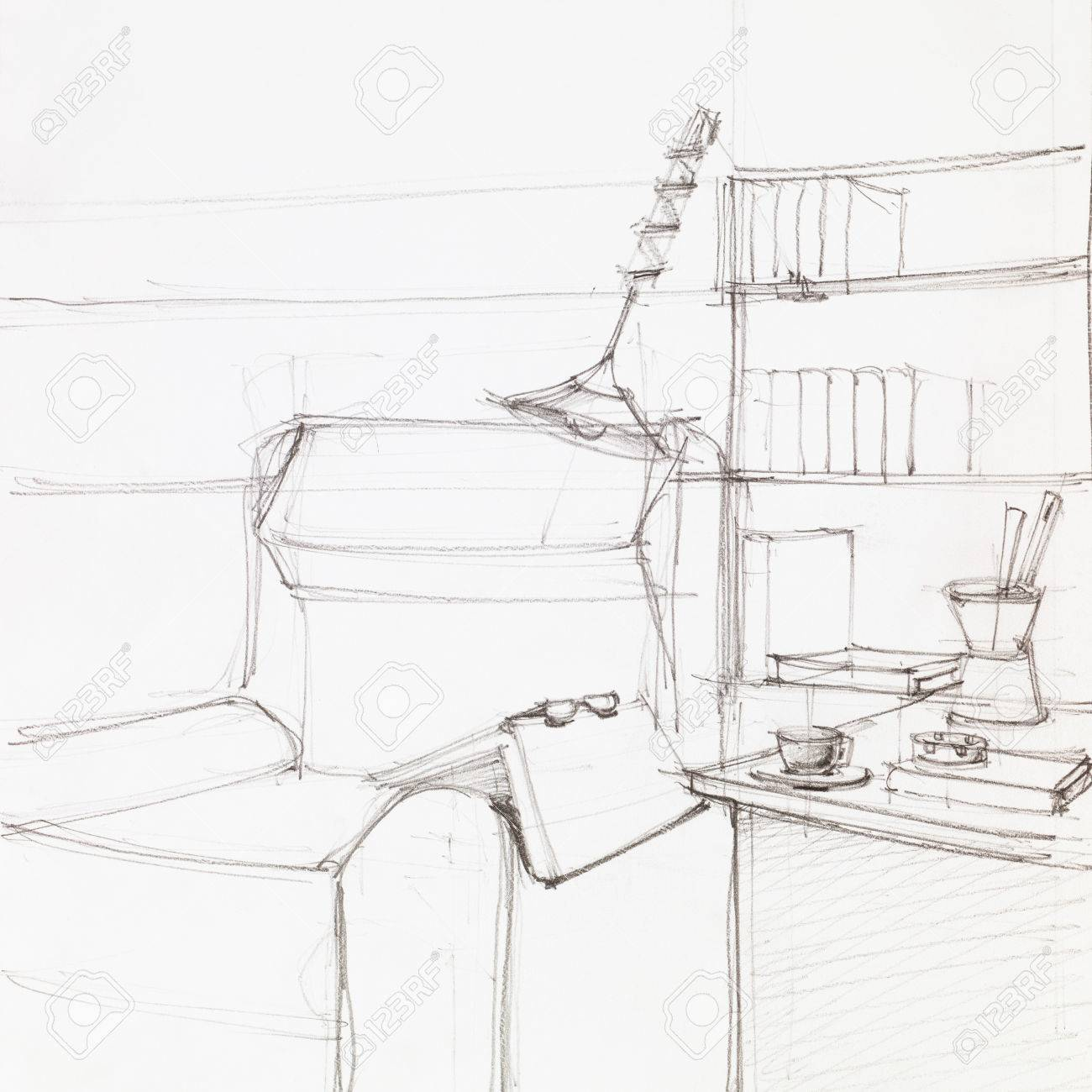 1300x1300 Simple Graphic Sketch Of Armchair And Book Shelves, Drawn By