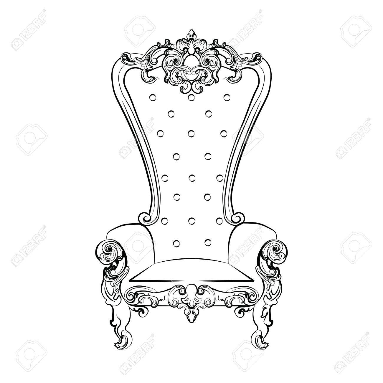 1300x1300 Baroque Royal Armchair With Luxurious Ornaments. Vector Sketch