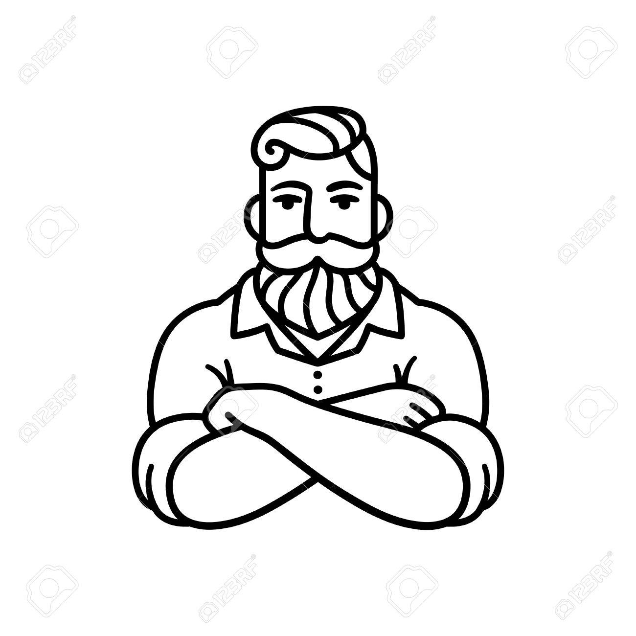 1300x1300 Black And White Line Drawing Of Bearded Man With Arms Crossed